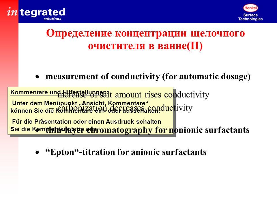 Определение концентрации щелочного очистителя в ванне(II)