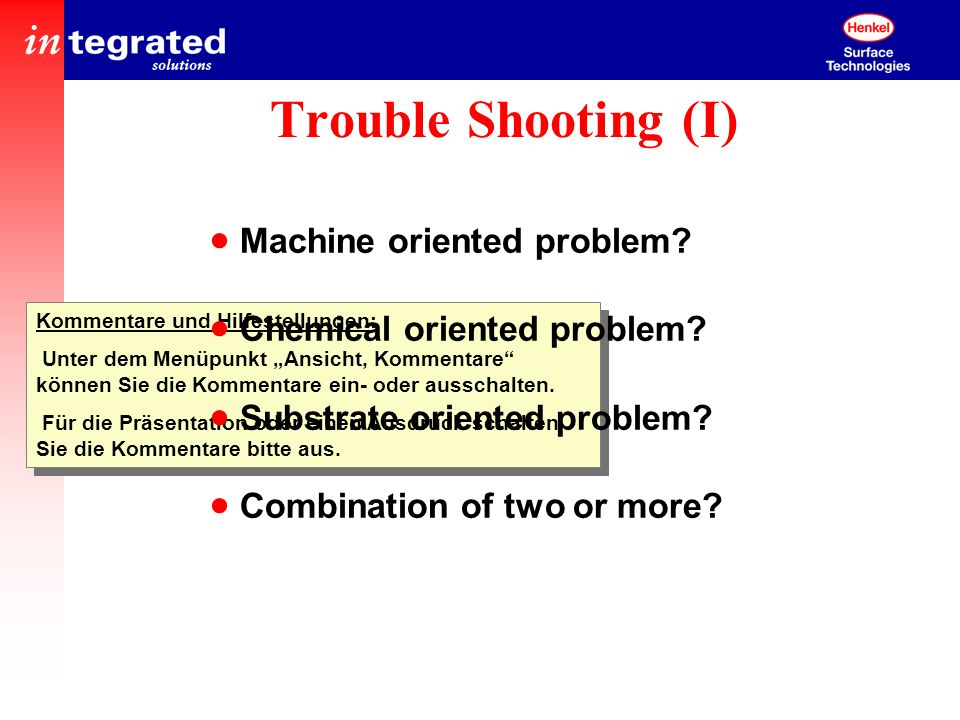 Trouble Shooting (I) Machine oriented problem