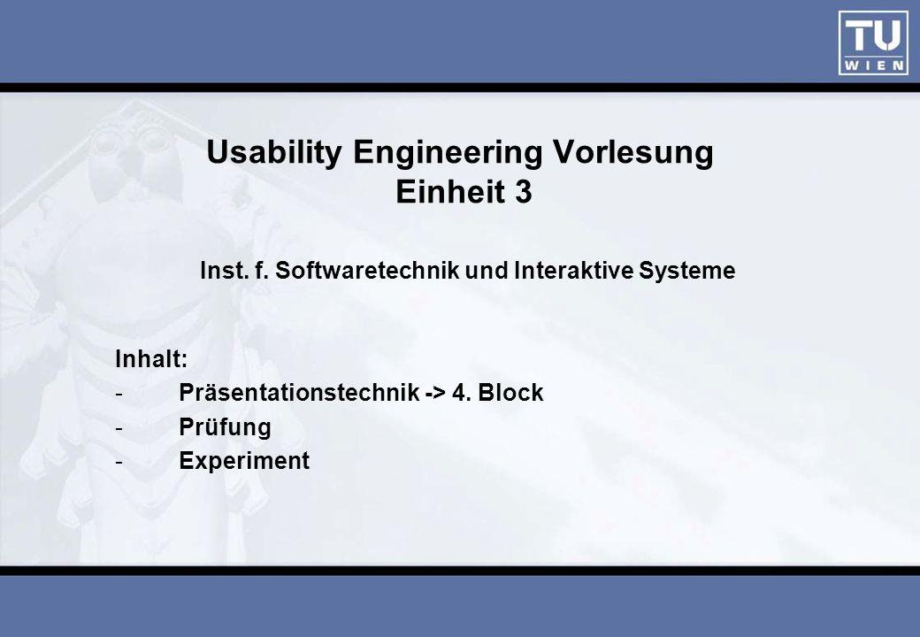 Usability Engineering Vorlesung Einheit 3