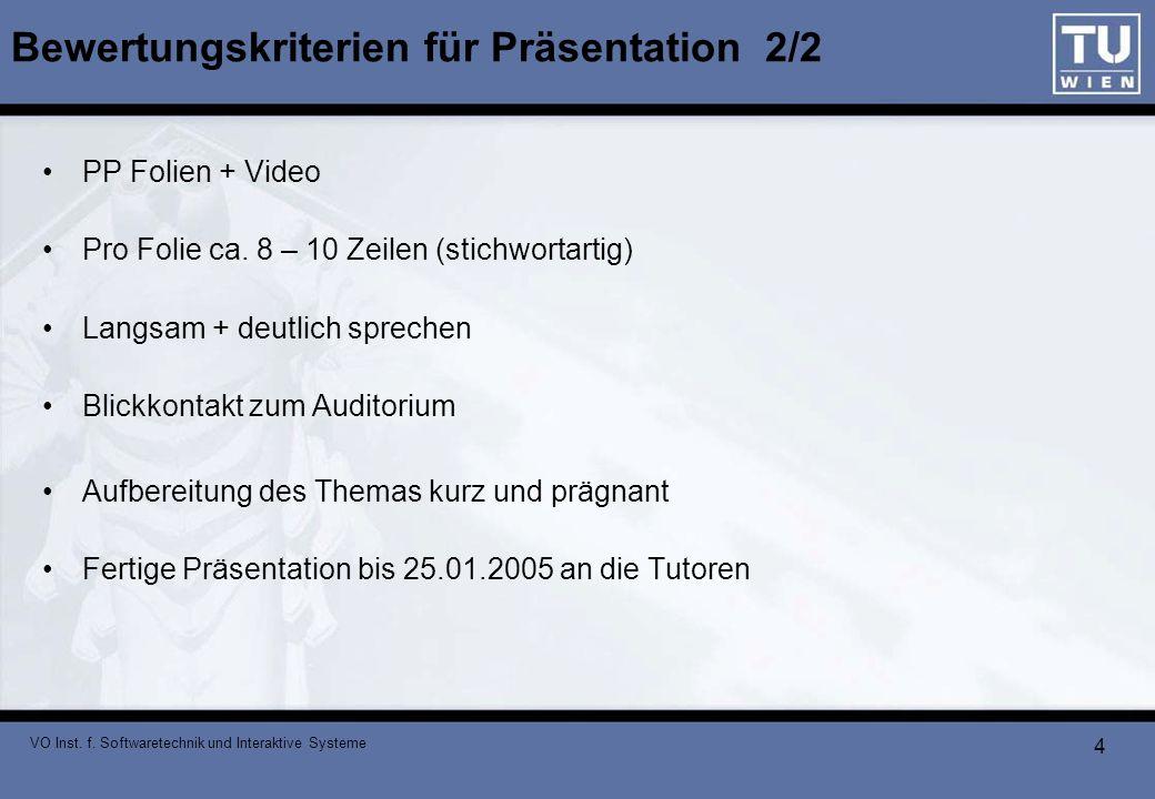 Bewertungskriterien für Präsentation 2/2