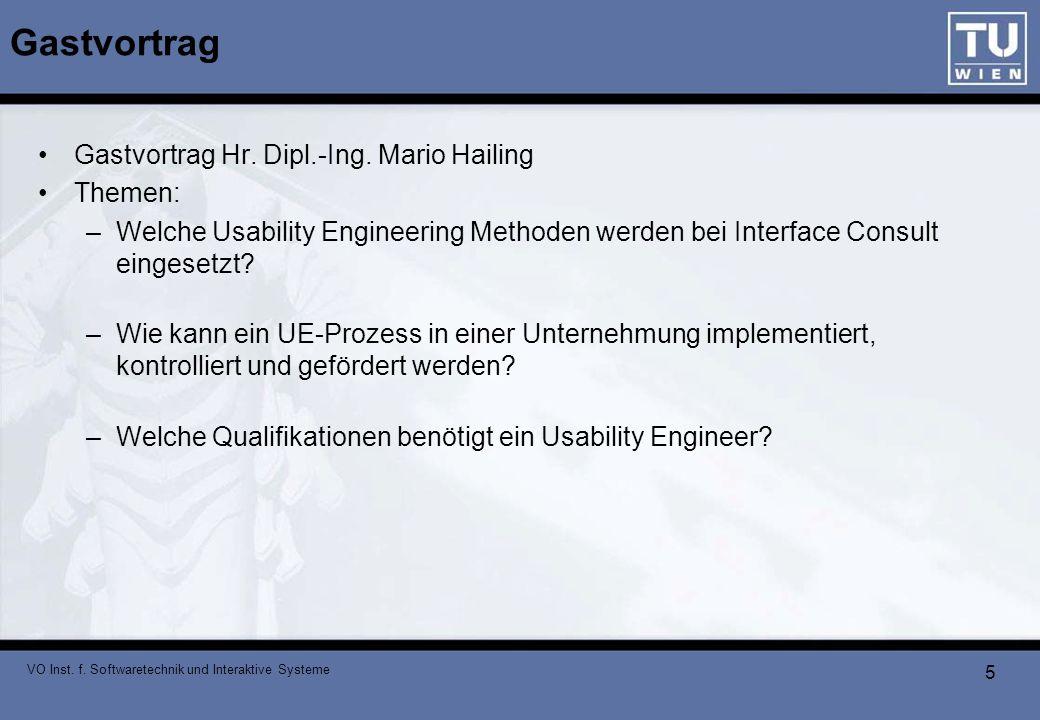Gastvortrag Gastvortrag Hr. Dipl.-Ing. Mario Hailing Themen: