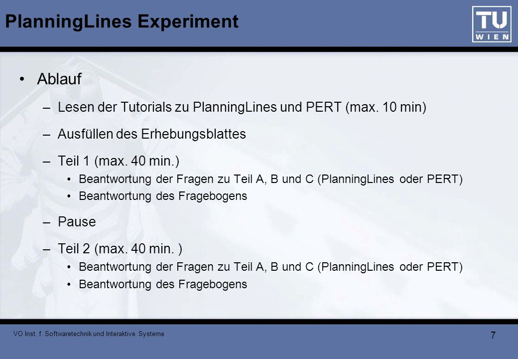 PlanningLines Experiment