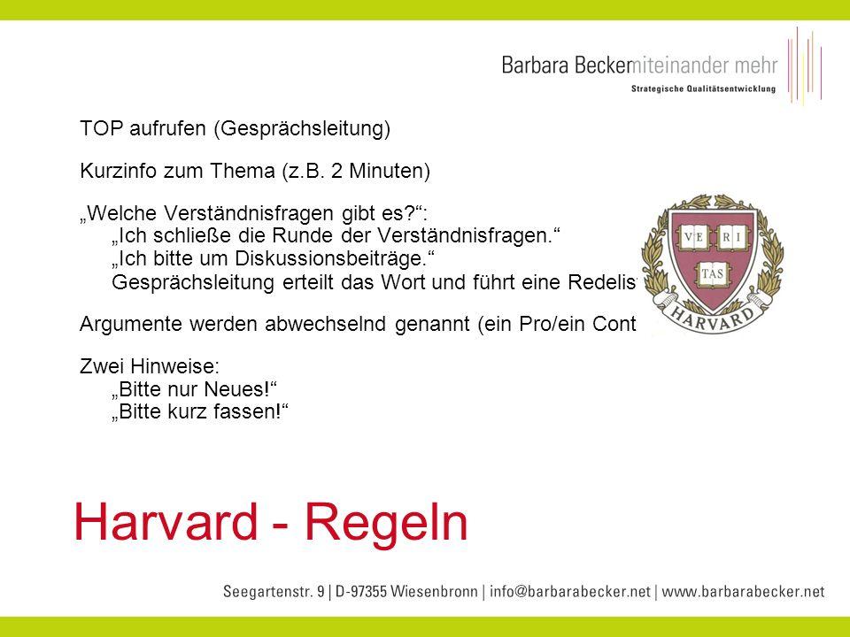 Harvard - Regeln TOP aufrufen (Gesprächsleitung)