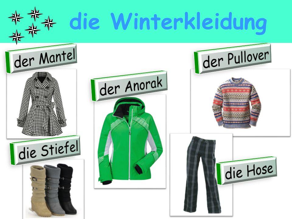 die Winterkleidung der Mantel der Pullover der Anorak die Stiefel