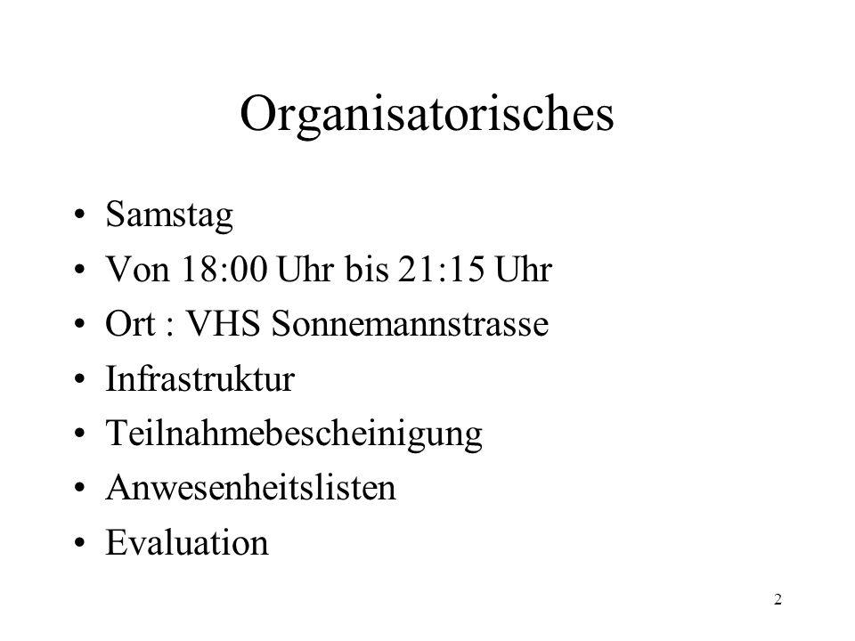 Organisatorisches Samstag Von 18:00 Uhr bis 21:15 Uhr