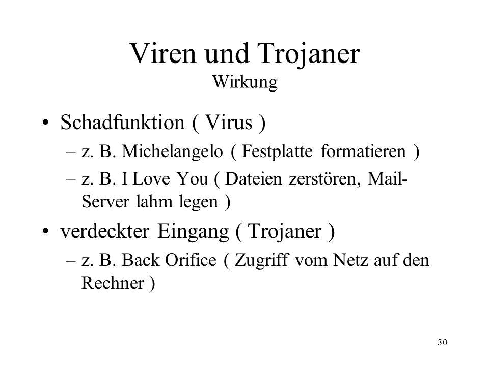 Viren und Trojaner Wirkung