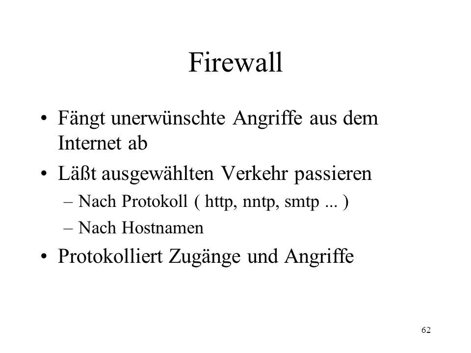 Firewall Fängt unerwünschte Angriffe aus dem Internet ab