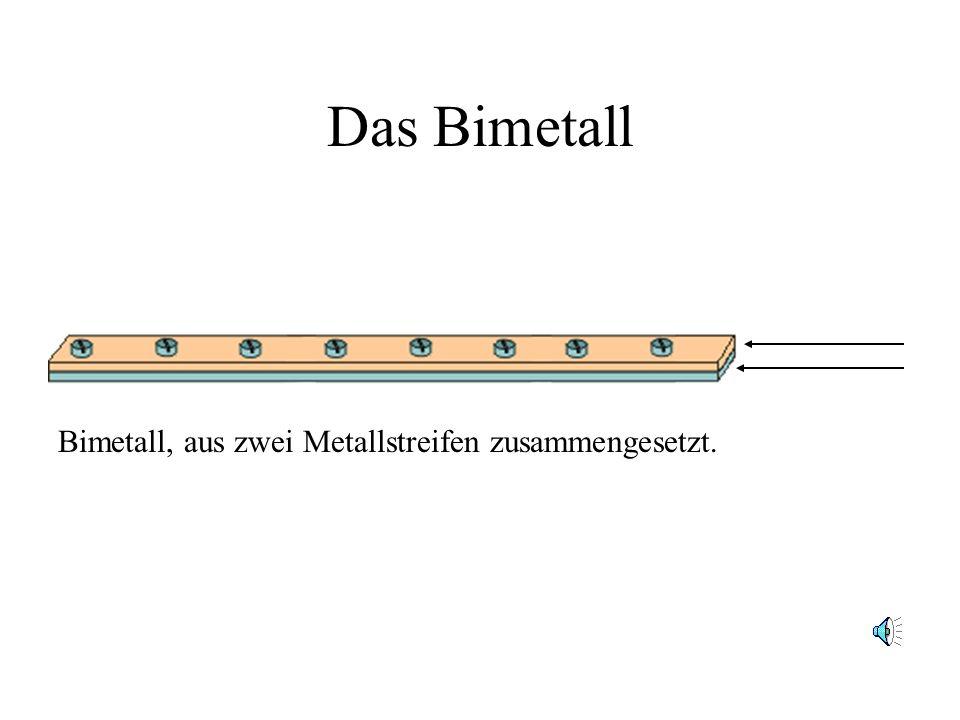 Das Bimetall Bimetall, aus zwei Metallstreifen zusammengesetzt.
