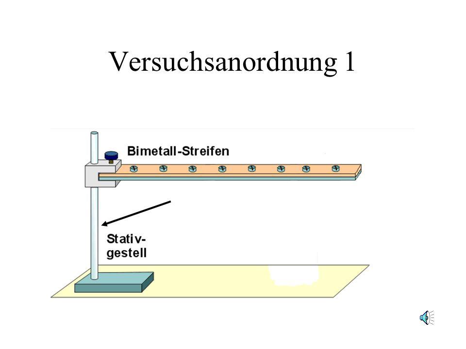 Versuchsanordnung 1 1.2 Dieses Bimetall wird an einem Stativ befestigt. (Klick)