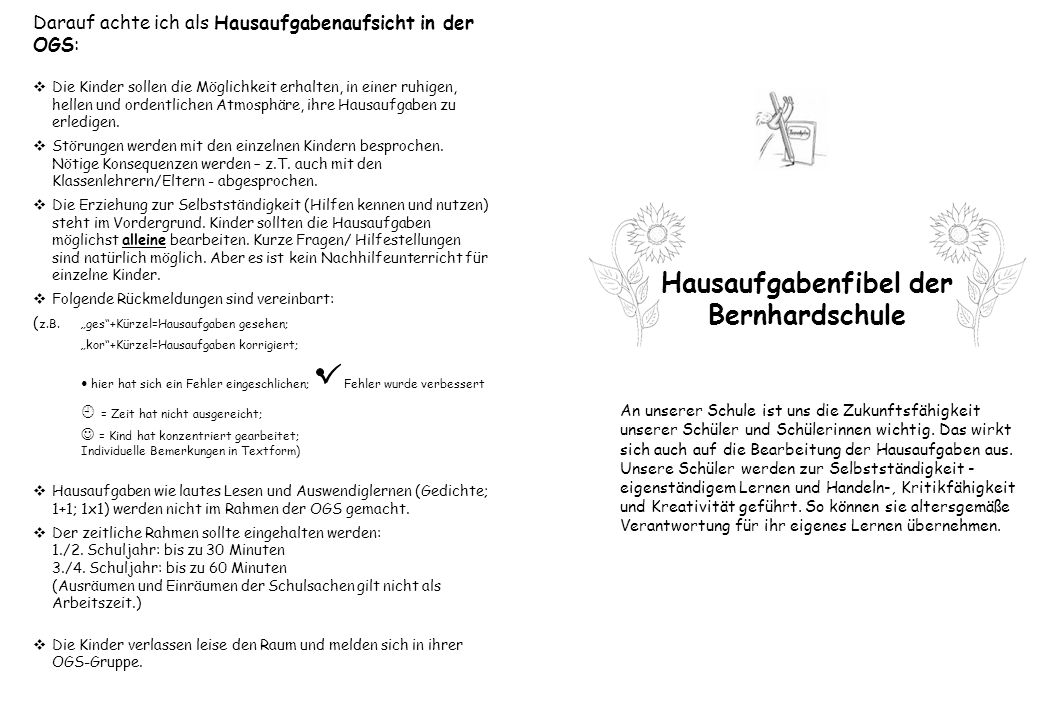 Hausaufgabenfibel der Bernhardschule