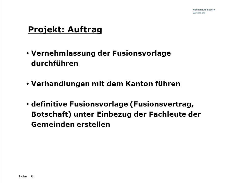 Projekt: Auftrag Vernehmlassung der Fusionsvorlage durchführen