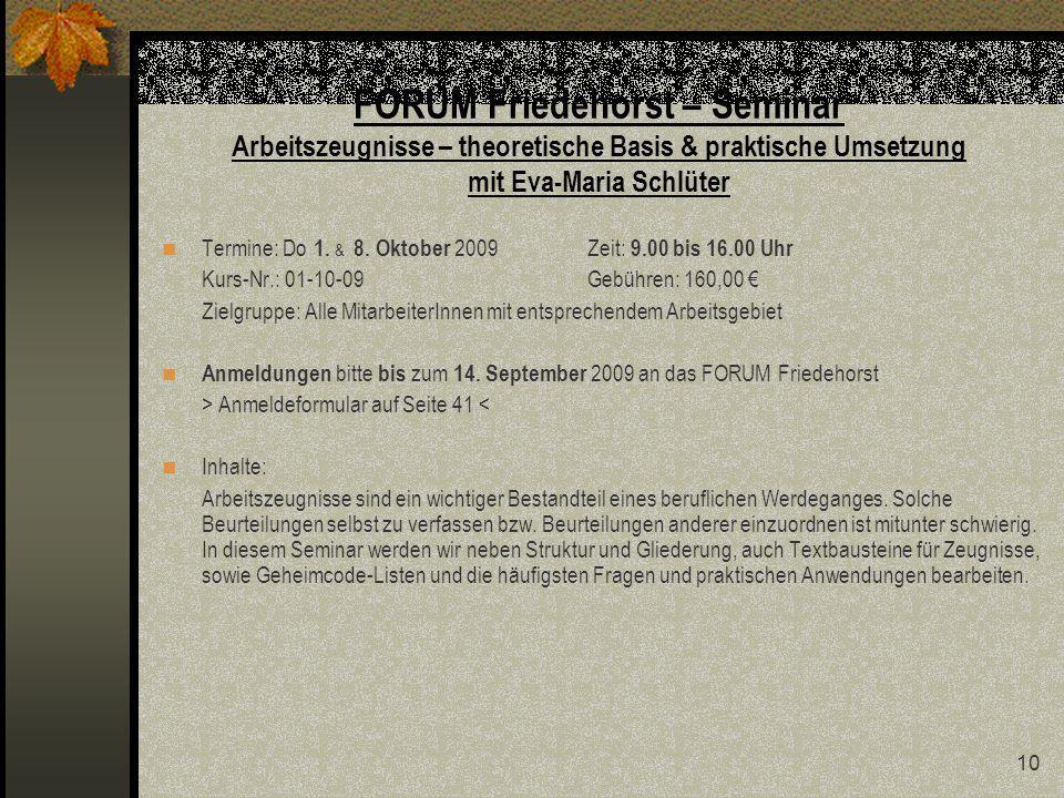FORUM Friedehorst – Seminar Arbeitszeugnisse – theoretische Basis & praktische Umsetzung mit Eva-Maria Schlüter