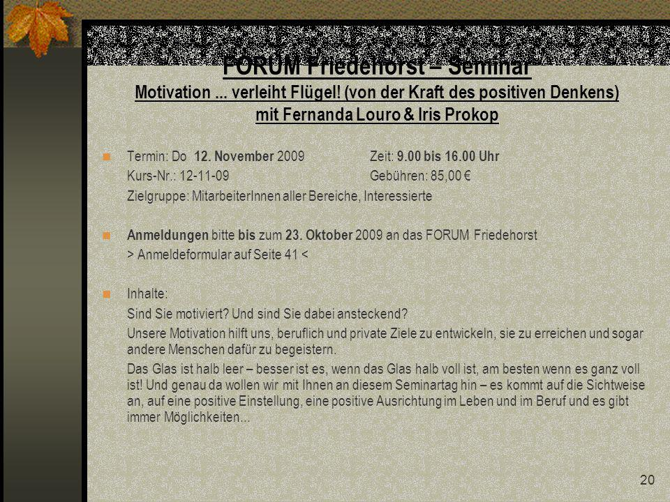 FORUM Friedehorst – Seminar Motivation. verleiht Flügel