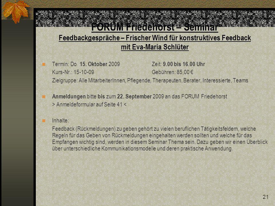 FORUM Friedehorst – Seminar Feedbackgespräche – Frischer Wind für konstruktives Feedback mit Eva-Maria Schlüter
