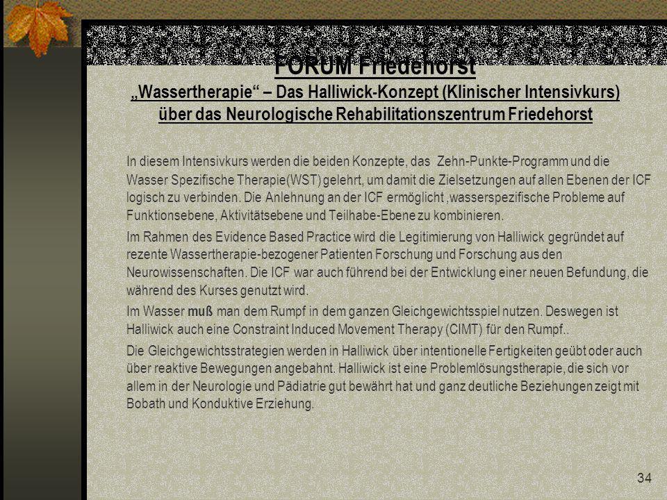 """FORUM Friedehorst """"Wassertherapie – Das Halliwick-Konzept (Klinischer Intensivkurs) über das Neurologische Rehabilitationszentrum Friedehorst"""