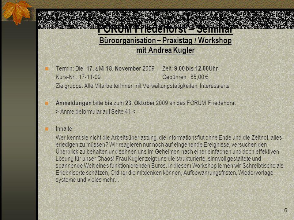 FORUM Friedehorst – Seminar Büroorganisation – Praxistag / Workshop mit Andrea Kugler