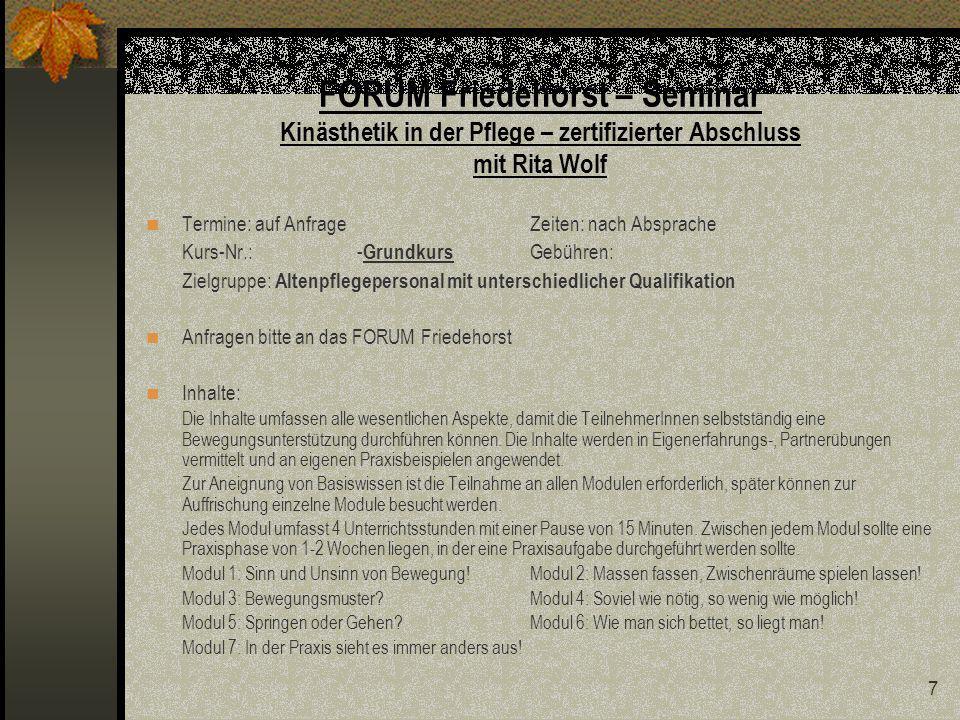 FORUM Friedehorst – Seminar Kinästhetik in der Pflege – zertifizierter Abschluss mit Rita Wolf