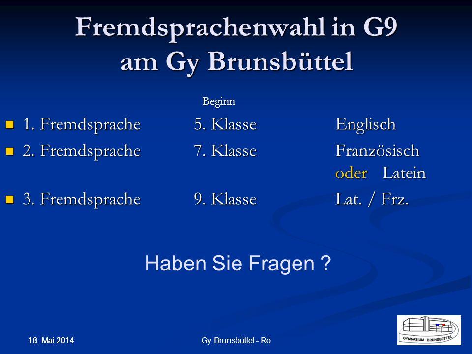 Fremdsprachenwahl in G9 am Gy Brunsbüttel