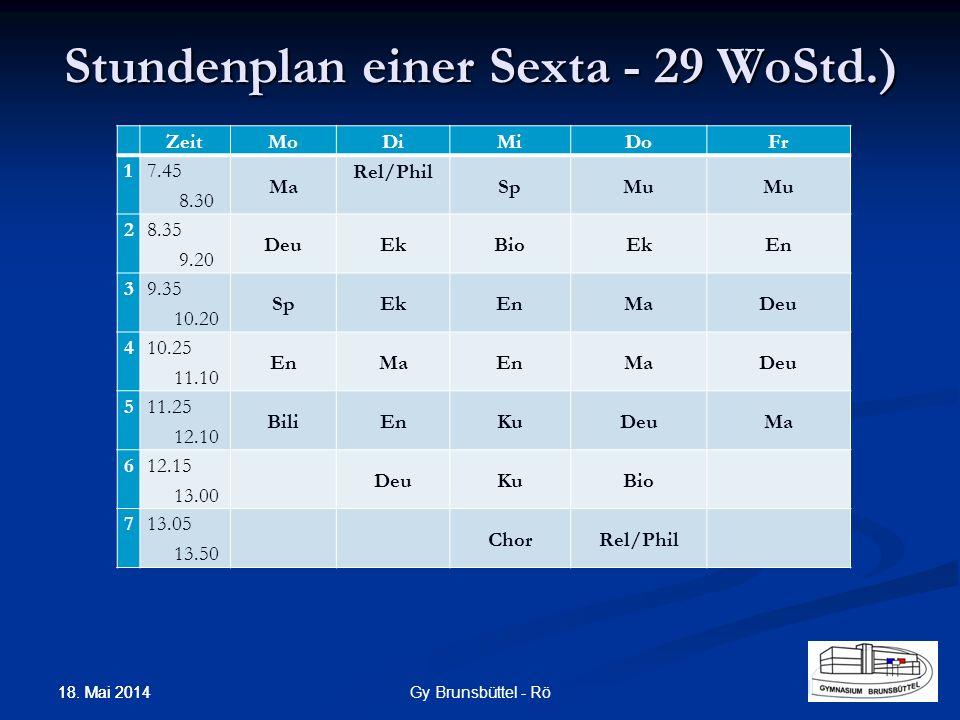 Stundenplan einer Sexta - 29 WoStd.)