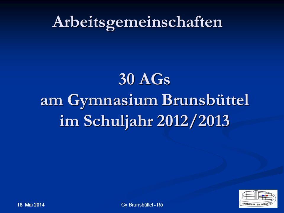 30 AGs am Gymnasium Brunsbüttel im Schuljahr 2012/2013