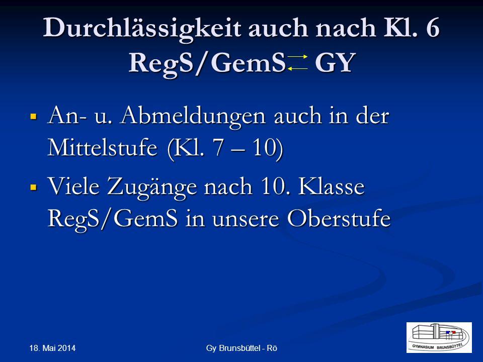 Durchlässigkeit auch nach Kl. 6 RegS/GemS GY
