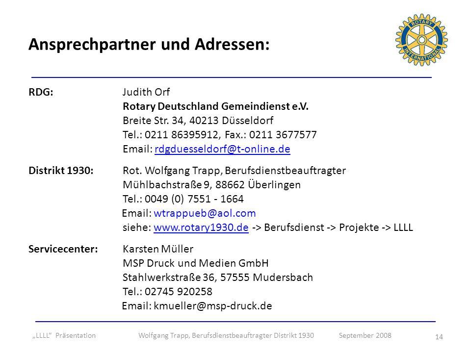 Ansprechpartner und Adressen: