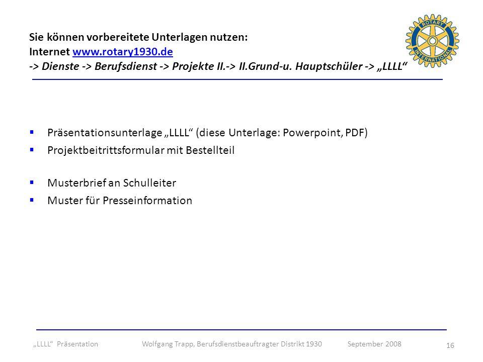 """Präsentationsunterlage """"LLLL (diese Unterlage: Powerpoint, PDF)"""