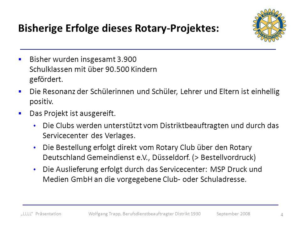 Bisherige Erfolge dieses Rotary-Projektes: