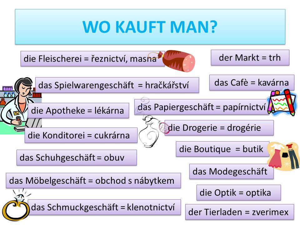 Wo kauft man der Markt = trh die Fleischerei = řeznictví, masna