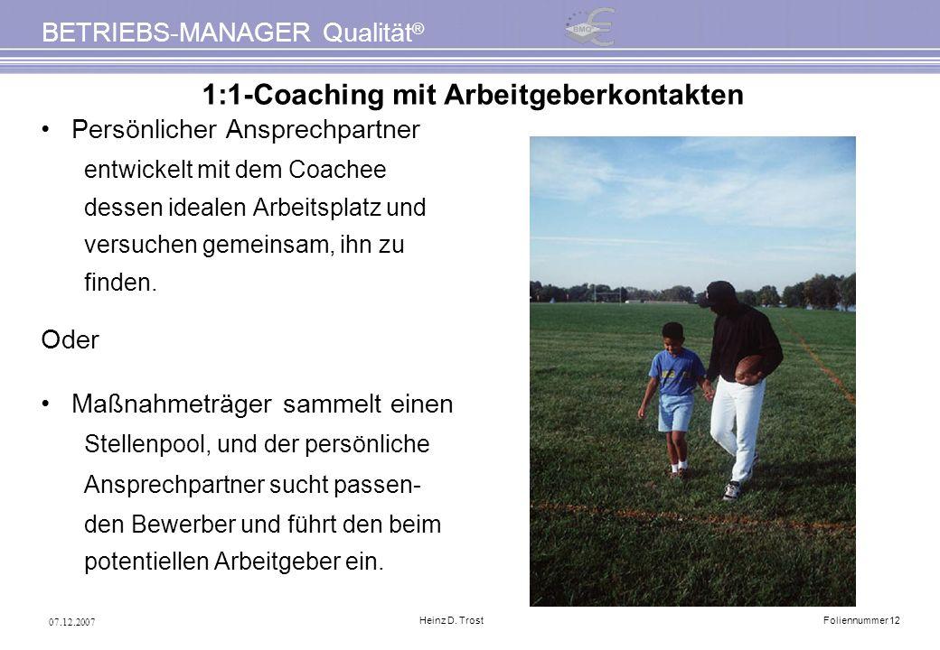 1:1-Coaching mit Arbeitgeberkontakten