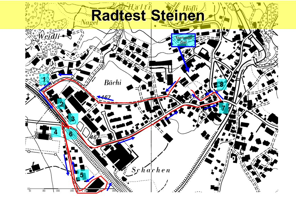 Radtest Steinen Start und Ziel 1 8 2 7 3 4 6 5