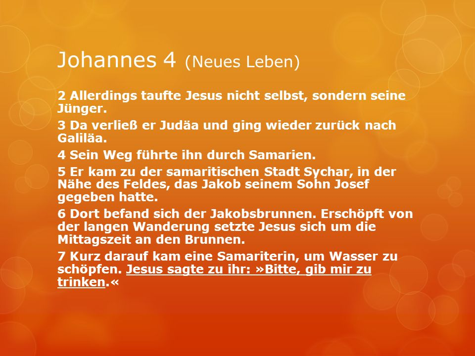 Johannes 4 (Neues Leben)