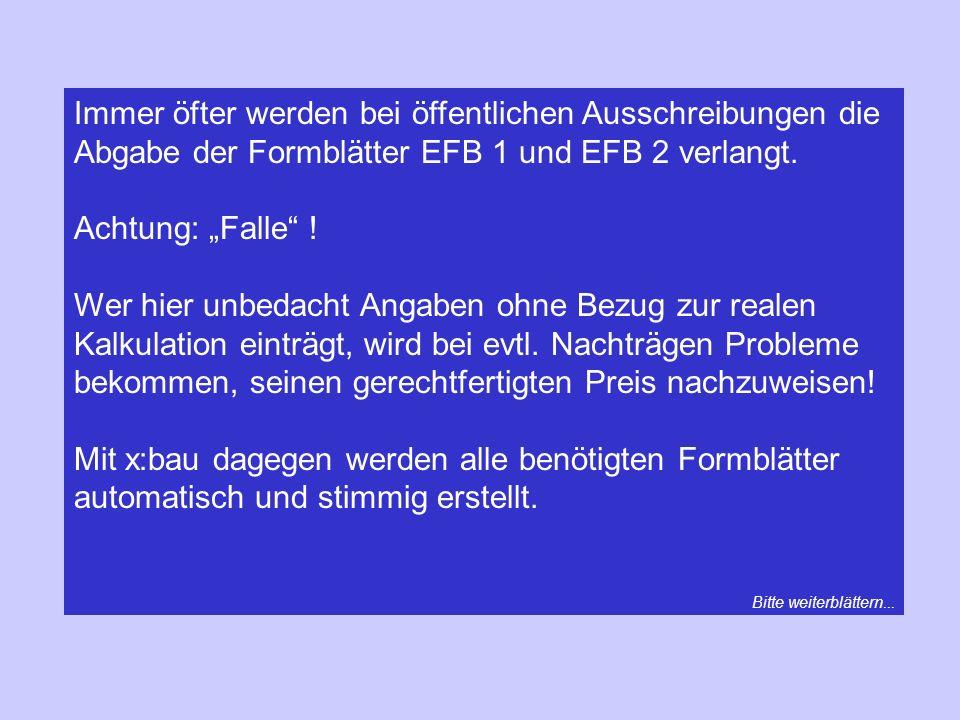 Immer öfter werden bei öffentlichen Ausschreibungen die Abgabe der Formblätter EFB 1 und EFB 2 verlangt.