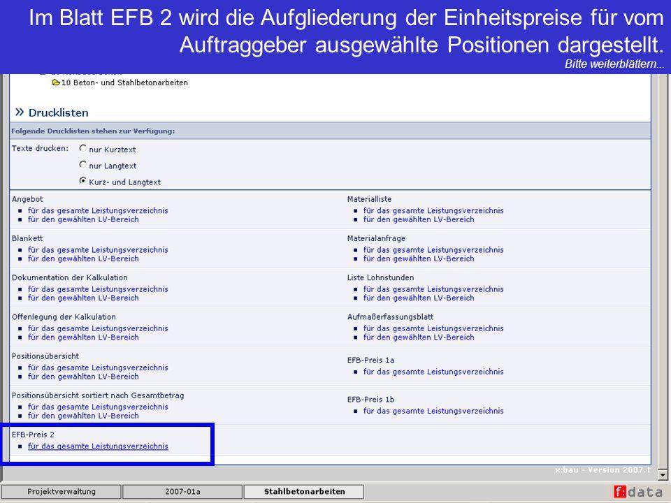 Im Blatt EFB 2 wird die Aufgliederung der Einheitspreise für vom Auftraggeber ausgewählte Positionen dargestellt.