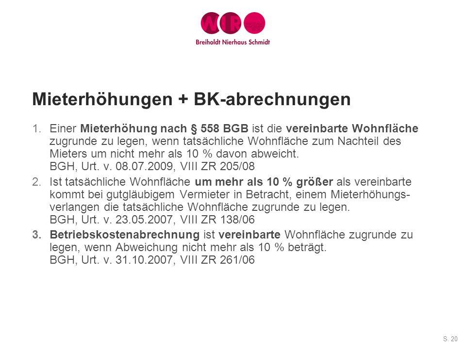 Mieterhöhungen + BK-abrechnungen