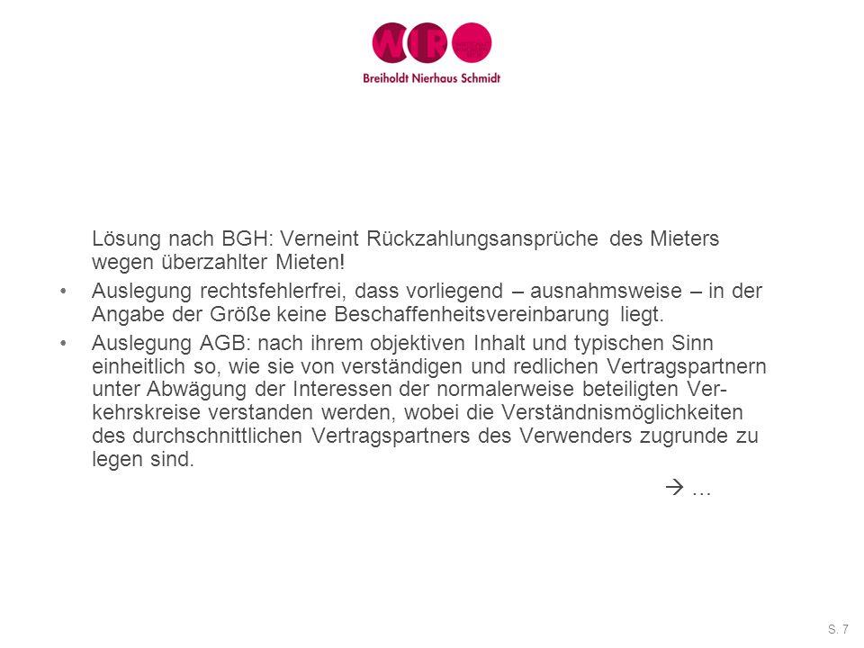 Lösung nach BGH: Verneint Rückzahlungsansprüche des Mieters wegen überzahlter Mieten!