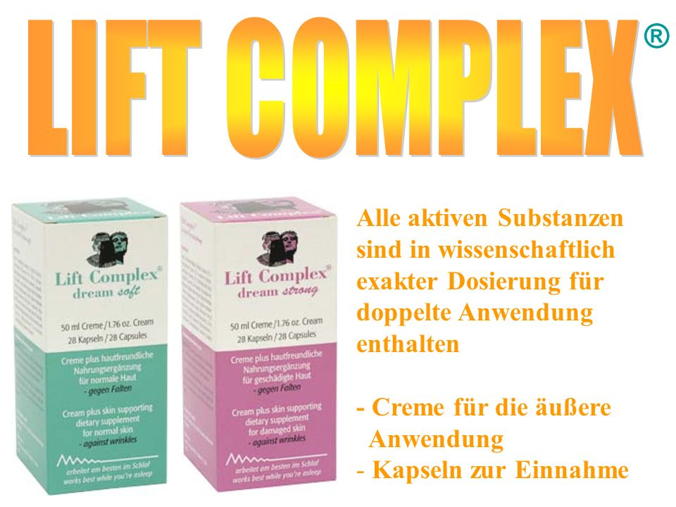 ® LIFT COMPLEX. Alle aktiven Substanzen sind in wissenschaftlich exakter Dosierung für doppelte Anwendung enthalten.
