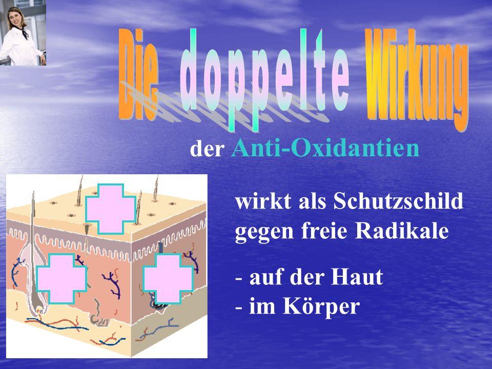 Die Wirkung doppelte. der Anti-Oxidantien. wirkt als Schutzschild gegen freie Radikale.