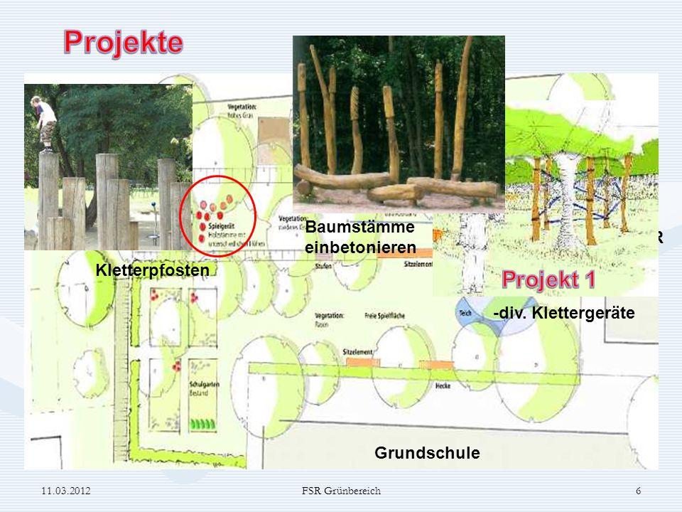 Projekte Projekt 1 Baumstämme einbetonieren FSR Kletterpfosten