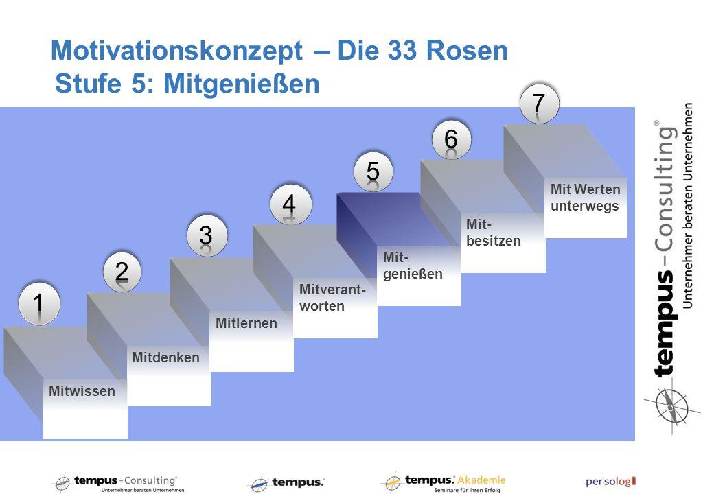 Motivationskonzept – Die 33 Rosen Stufe 5: Mitgenießen