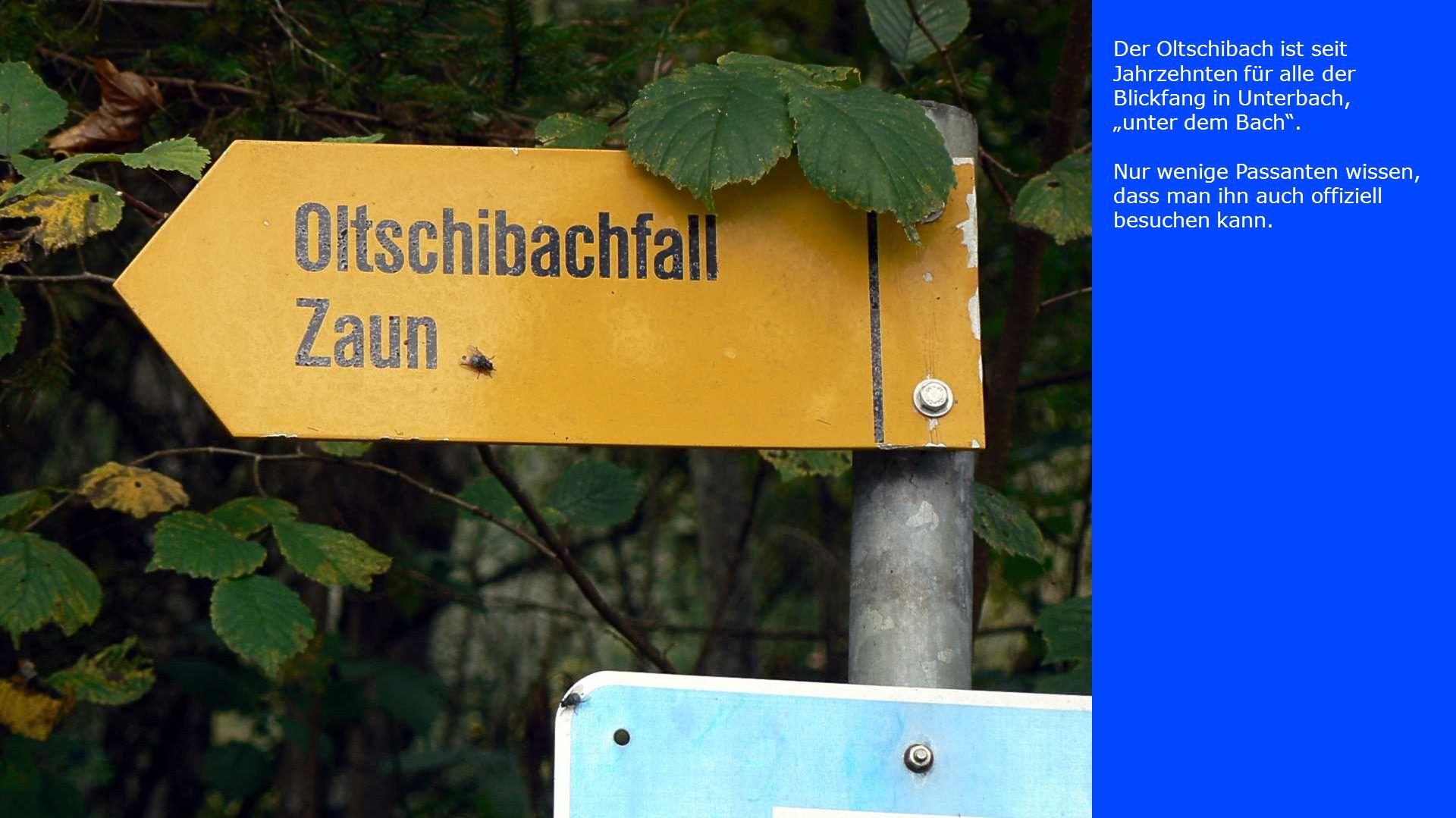 """Der Oltschibach ist seit Jahrzehnten für alle der Blickfang in Unterbach, """"unter dem Bach ."""