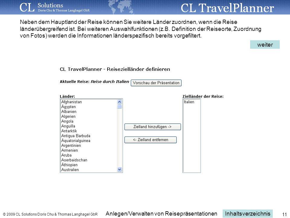Neben dem Hauptland der Reise können Sie weitere Länder zuordnen, wenn die Reise länderübergreifend ist. Bei weiteren Auswahlfunktionen (z.B. Definition der Reiseorte, Zuordnung von Fotos) werden die Informationen länderspezifisch bereits vorgefiltert.