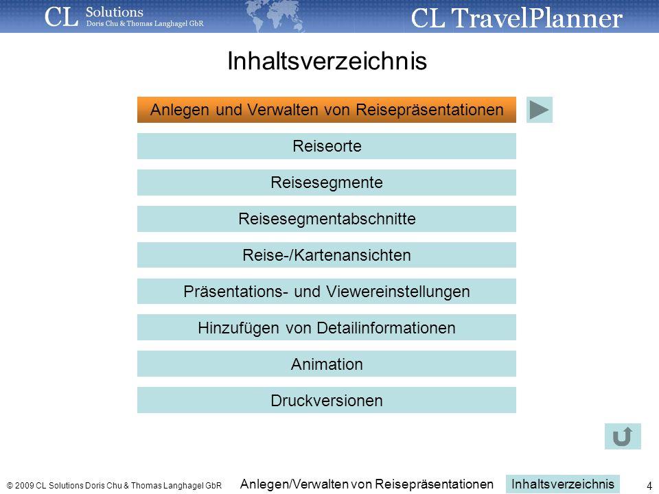 Inhaltsverzeichnis Anlegen und Verwalten von Reisepräsentationen