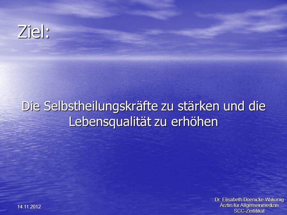 Ziel: Die Selbstheilungskräfte zu stärken und die Lebensqualität zu erhöhen. 14.11.2012. Dr. Elisabeth Doenicke-Wakonig.