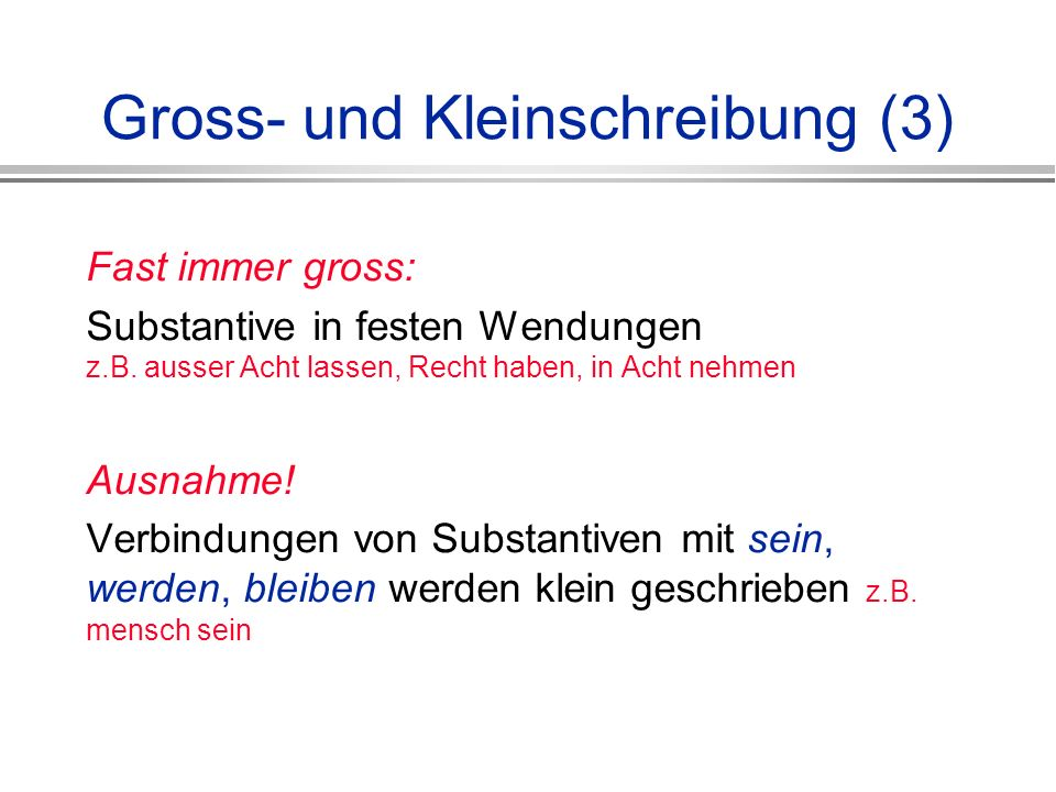 Gross- und Kleinschreibung (3)