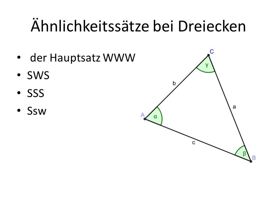 Ähnlichkeitssätze bei Dreiecken