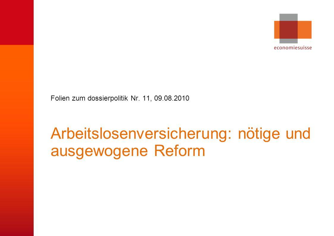 Sanierungsfall ALV Bei letzter Reform zu optimistische Annahmen zu durchschnittlicher Arbeitslosenquote.