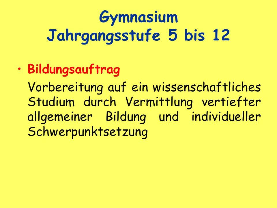 Gymnasium Jahrgangsstufe 5 bis 12