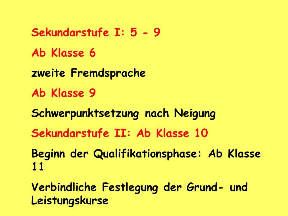 Sekundarstufe I: 5 - 9 Ab Klasse 6. zweite Fremdsprache. Ab Klasse 9. Schwerpunktsetzung nach Neigung.