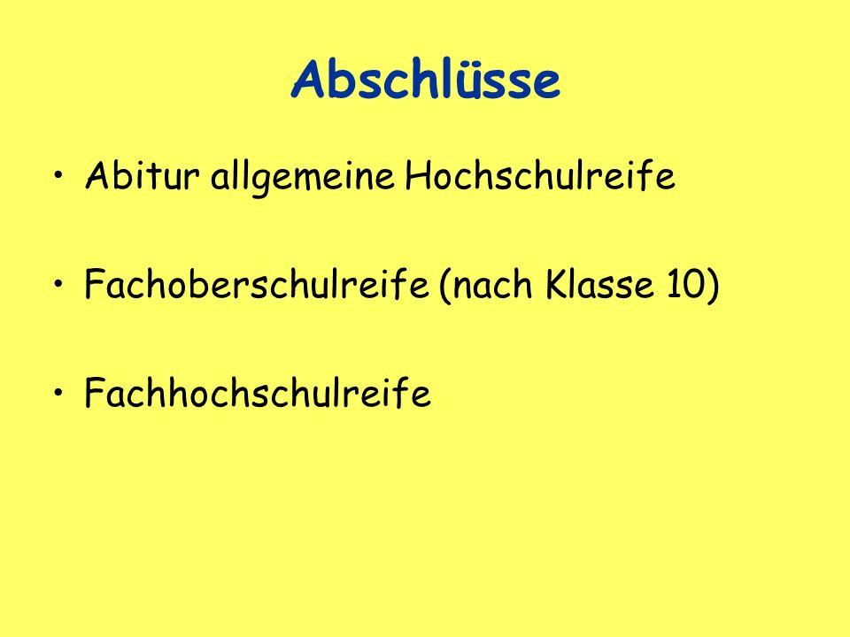 Abschlüsse Abitur allgemeine Hochschulreife